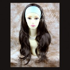 Wavy Dark Coffee Brown Long 3/4 Wig Fall Hairpiece s05x6