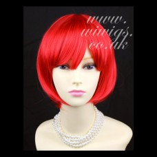 New Watch Out Cosplay Fire Red Bob Style Ladies Wigs UK 012h