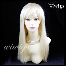 Sexy Pale Blonde Long Ladies Wigs Skin top BANGS Wig UK WIWIGS