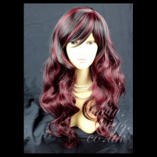 Black mix Burgundy wavy Long Ladies Wigs Skin Top Wig UK