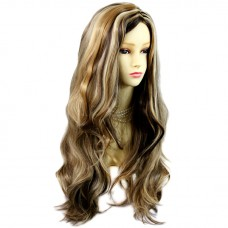 Sexy Fabulous Long Layers Wavy Wig Blonde Brown mix Ladies Wigs Skin Top UK