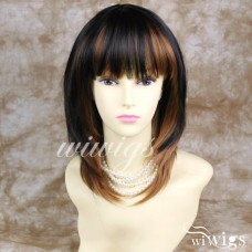 Face Frame Layered Straight Red Auburn mix Black Ladies Wig
