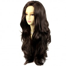 Sexy Fabulous Long Layers Wavy Wig Dark Coffee Brown Ladies Wigs Skin Top UK
