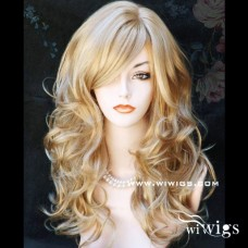 Wonderful New Long wavy Blonde mix skin top Curly Wig Hair WIWIGS