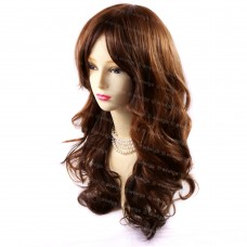 Sexy Long Wavy Brown & Copper Red skin top hair Ladies Wigs from WIWIGS UK