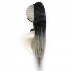 Black & Grey Straight Long Clip in Ponytail Dip-Dye Ombre Hair Piece Extension UK