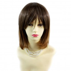 Wiwigs ® Gorgeous Short Bob Style Wig Strawberry Blonde & Light Brown Dip-Dye Ombre Hair UK