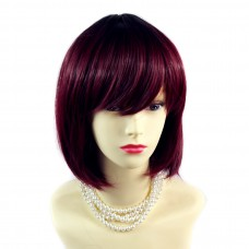 Wiwigs ® Gorgeous Short Bob Style Wig Burgundy & Off Black Dip-Dye Ombre Hair UK