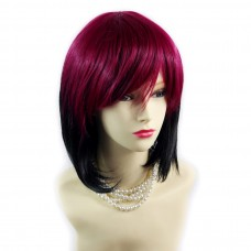 Wiwigs ® Gorgeous Short Bob Style Wig Light Wine Red & Off Black Dip-Dye Ombre Hair UK