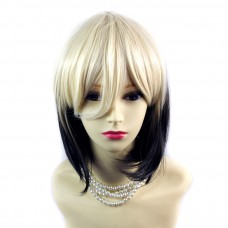 Wiwigs ® Gorgeous Short Bob Style Wig Light Blonde & Medium Brown Dip-Dye Ombre Hair UK