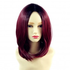 Wiwigs ® Pretty Medium Bob Style Wig Burgundy & Off Black Dip-Dye Ombre Hair UK