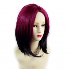 Wiwigs ® Pretty Medium Bob Style Wig Light Wine Red & Off Black Dip-Dye Ombre Hair UK