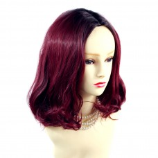 Wiwigs ® Lovely Medium Bob Style Wig Burgundy & Off Black Dip-Dye Ombre Hair UK