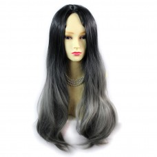 Wiwigs ® Fabulous Long Straight Wig Grey & Off Black Dip-Dye Ombre Hair UK