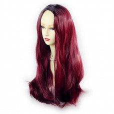 Wiwigs ® Fabulous Long Straight Wig Burgundy & Off Black Dip-Dye Ombre Hair UK