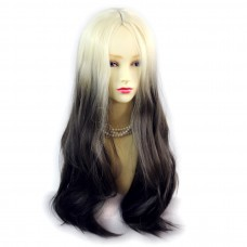 Wiwigs ® Fabulous Long Straight Wig Light Blonde & Medium Brown Dip-Dye Ombre Hair UK