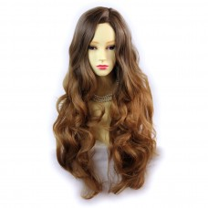 Wiwigs ® Pretty Long Wavy Wig Strawberry Blonde & Light Brown Dip-Dye Ombre Hair UK