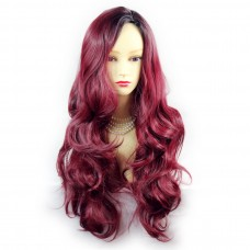 Wiwigs ® Pretty Long Wavy Wig Burgundy & Off Black Dip-Dye Ombre Hair UK