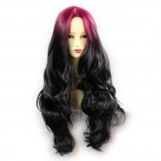 Wiwigs ® Gorgeous Long Wavy Wig Light Wine Red & Off Black Dip-Dye Ombre Hair UK