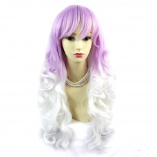 Wiwigs ® Romantic Long Curly Wig Snow White & Light Purple Dip-Dye Ombre Hair UK
