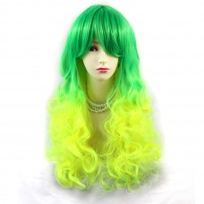 Wiwigs ® Romantic Long Curly Wig Green & Light Yellow Dip-Dye Ombre Hair UK