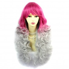 Wiwigs ® Romantic Long Curly Wig Grey & Dark Pink Dip-Dye Ombre Hair UK