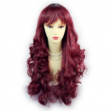 Wiwigs ® Romantic Long Curly Wig Burgundy & Off Black Dip-Dye Ombre Hair UK