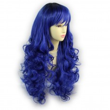 Wiwigs ® Romantic Long Curly Wig Blue & Off Black Dip-Dye Ombre Hair UK