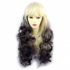 Wiwigs ® Romantic Long Curly Wig Light Blonde & Medium Brown Dip-Dye Ombre Hair UK