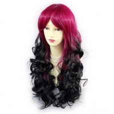 Wiwigs ® Romantic Long Curly Wig Light Wine Red & Off Black Dip-Dye Ombre Hair UK