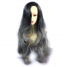Wiwigs ® Gorgeous Long Wavy Wig Grey & Off Black Dip-Dye Ombre Hair UK
