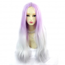 Wiwigs ® Romantic Long Straight Wig Snow White & Light Purple Dip-Dye Ombre Hair UK
