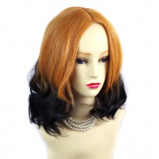 Wiwigs ® Pretty Short Wavy Bob Style Wig Dark Brown Dip-Dye Ombre Hair UK