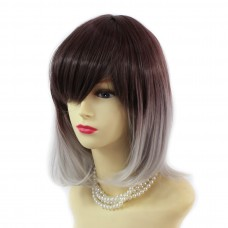 Wiwigs ® Gorgeous Short Bob Style Wig Grey & Dark Auburn Dip-Dye Ombre Hair UK