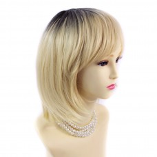 Wiwigs ® Gorgeous Short Bob Style Wig Light Golden Blonde & Dark Brown Dip-Dye Ombre Hair UK