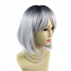 Wiwigs ® Gorgeous Short Bob Style Wig Grey & Off Black Dip-Dye Ombre Hair UK