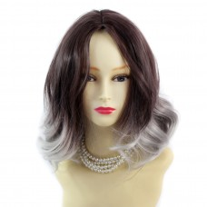 Wiwigs ® Pretty Short Wavy Bob Style Wig Grey & Dark Auburn Dip-Dye Ombre Hair UK