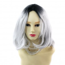 Wiwigs ® Pretty Short Wavy Bob Style Wig Grey & Off Black Dip-Dye Ombre Hair UK