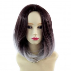 Wiwigs ® Pretty Medium Bob Style Wig Grey & Dark Auburn Dip-Dye Ombre Hair UK