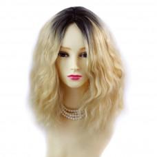 Wiwigs ® Wonderful Wild Untamed Medium Curly Wig Light Golden Blonde & Dark Brown Dip-Dye Ombre Hair UK
