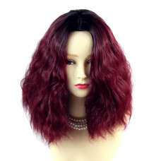Wiwigs ® Wonderful Wild Untamed Medium Curly Wig Burgundy & Off Black Dip-Dye Ombre Hair UK