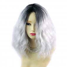Wiwigs ® Wonderful Wild Untamed Medium Curly Wig Grey & Off Black Dip-Dye Ombre Hair UK
