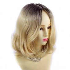 Wiwigs ® Lovely Medium Bob Style Wig Light Golden Blonde & Dark Brown Dip-Dye Ombre Hair UK