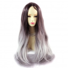 Wiwigs ® Fabulous Long Straight Wig Grey & Dark Auburn Dip-Dye Ombre Hair UK