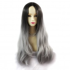 Wiwigs ® Fabulous Long Straight Wig Grey & Medium Brown Dip-Dye Ombre Hair UK