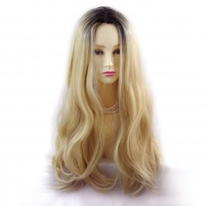 Wiwigs ® Fabulous Long Straight Wig Light Golden Blonde & Dark Brown Dip-Dye Ombre Hair UK