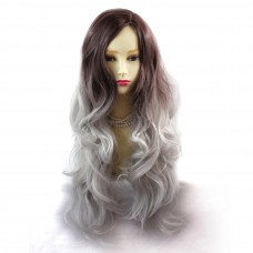 Wiwigs ® Pretty Long Wavy Wig Grey & Dark Auburn Dip-Dye Ombre Hair UK