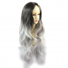 Wiwigs ® Gorgeous Long Wavy Wig Grey & Medium Brown Dip-Dye Ombre Hair UK
