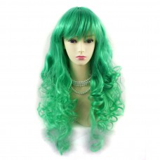 Wiwigs ® Romantic Long Curly Wig Green & Light Green Dip-Dye Ombre Hair UK