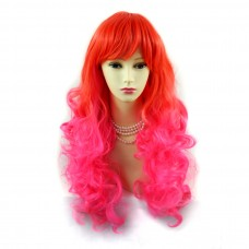 Wiwigs ® Romantic Long Curly Wig Red & Dark Pink Dip-Dye Ombre Hair UK